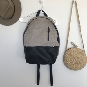 Skagen leather and cloth backpack